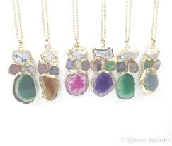 jln irregular multi color druzy agate pendant necklace gold plated wrapped slice combined stone pendant necklace for gift uk 2019 from jlnjewelry