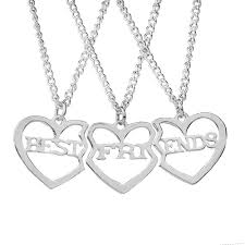 50cm best friends necklace 3 parts charming splice broken heart letter pendant forever silver friendship jewelry whole