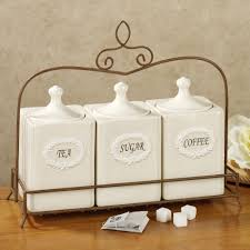 Rustic Kitchen Canister Sets Kitchen Kitchen Canister Set With Tea Coffee Sugar Jars Lace