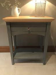 oak hall console table. HAND PAINTED FURNITURE - SOLID OAK HALL LAMP CONSOLE TABLE GREY CHALK PAINT FINISHED WITH CLEAR Oak Hall Console Table O