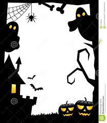 haunted house clipart black and white halloween silhouette frame vertical