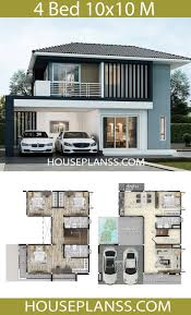 House plans idea 10x10 with 4 bedrooms in 2020 | House construction plan,  House plan gallery, Duplex house design
