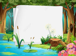 Pond Edges Design Paper Design With Pond In Forest Illustration