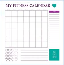 Monthly Workout Schedule Template Fitness Calendar Template Workout Calendar Workout