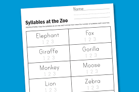Worksheet Wednesday: Zoo Syllables - Paging Supermom