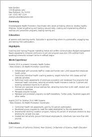1 Health Promotion Coordinator Resume Templates Try Them Now