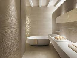 Modern Minimalist Bathroom Design With Textured Wall And And White Floating  Vanity With Sink Featuring White Oval Bathtub