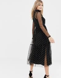 Designer Long Midi Dresses Long Sleeve Tulle Midi Dress With Mustard Spot