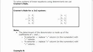 solving a 2x2 system of equations using determinants