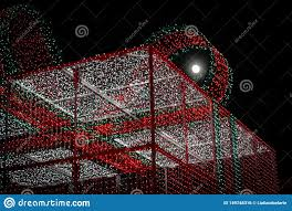 Giant Net Lights The Moon And The Giant Gift Stock Photo Image Of Christmas