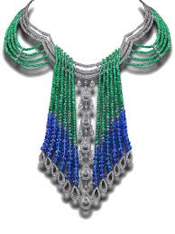 house of rose emerald and tanzanite necklace with pear shaped diamonds