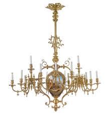 gilt bronze and sÈvres style cobalt blue ground porcelain eighteen light chandelier paris circa