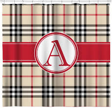 red tan plaid shower curtain personalized