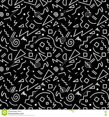 80s Pattern Amazing Seamless Pattern In Black And White 48s Style Stock Vector