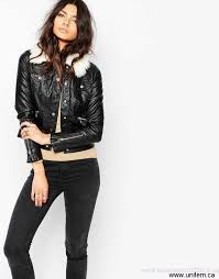 women s river island leather look faux fur collar biker jacket district prime fashion acsur adostuvy58