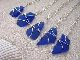 set of 5 royal blue sea glass pendants