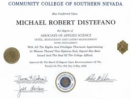 mike distefano bachelor of science hotel administration unlv national omnicron psi honors 2004