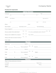 Free Downloadable Employment Application Forms Basic Employment Application Template