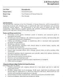 Job Description Template Word Awesome Receptionist Job Description Resume Sample Administrative Assistant