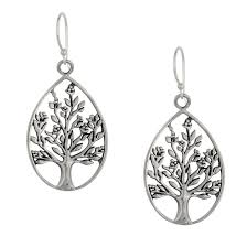 Sterling Silver 925 Satin Tree Circle Pendant Necklace ...