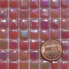 pink deep e035iri glass mosaic tiles