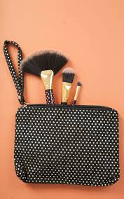 t r travel with me makeup bag in gold polka dottn jpg