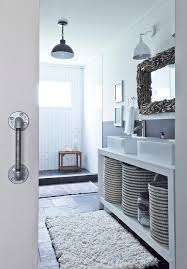 glass wall shower bathroom rustic with above counter sink barn