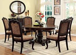 Round dining table set Pedestal Image Unavailable Amazoncom Amazoncom Furniture Of America Ferrara 7piece Elegant Round