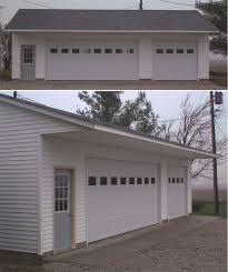 the 9 foot high walls accommodate the 8 foot high overhead doors one extra wide 18 foot wide and one 9 foot wide overhead door
