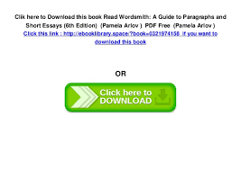 wordsmith a guide to paragraphs and short essays th edition   6