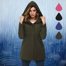acevog women winter warm thick front zip hooded parka coat outdoor waterproof jacket l army green fba