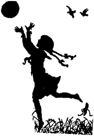 Silhouette girl ball pigtails