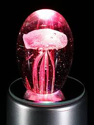 creative glass ball rotated light shine jellyfish box pink