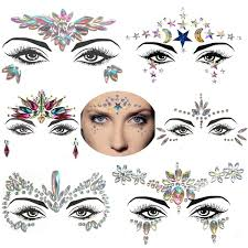 Electronic Syllable Face Decoration Party Queen 3d Crystal Face Sticker Diy Temporary Rhinestone Face Gem Jewelry Face Paste