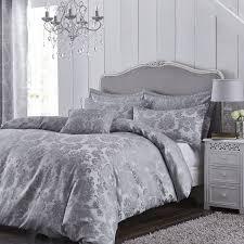 catherine lansfield jacquard damask duvet cover set silver