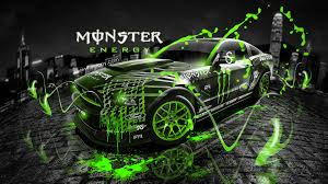 Monster Energy Ford Mustang Gt Fantasy Green Acid Design By