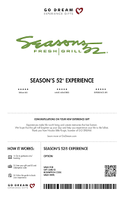 Rustic cooking techniques that bring out natural flavors and create flavorful dishes that are simply lighter. Baby Expecting Seasons 52 Restaurant Gift Card Nationwide Go Dream Sent In A Gift Package Gift Cards Charitybox Io