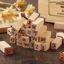 Ale ) แสตมป์ไม้รูปตัวเลขตัวอักษรภาษาอังกฤษ 36 ชิ้น / ชุด ฿128