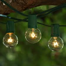 100 ft green c9 string light with g40 clear bulbs