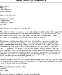 Collection Of Solutions Data Analyst Cover Letter Sample For Your