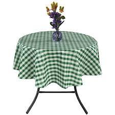 ottomanson vinyl tablecloth checd design indoor outdoor non woven backing tablecloth 55 round green