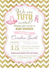 Ballerina Baby Shower Invitations Girls Wer Tutu Glitter
