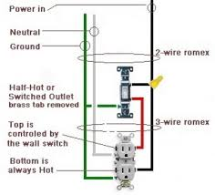 wiring diagram for duplex receptacle the wiring diagram wiring a switched outlet also a half hot outlet don t