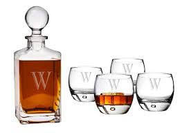personalized square decanter whiskey glasses set set of 5 personalized gifts and party favors