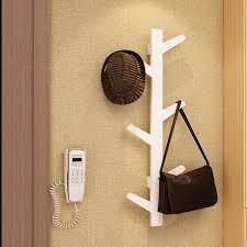 yazi white bamboo 6 branches tree wall hanging coat rack hanger scarf hat hook