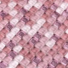 mosaic tiles glass pink glitter 15x15x8mm