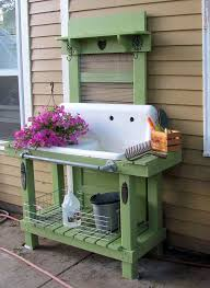 potting bench made from an old door and sink