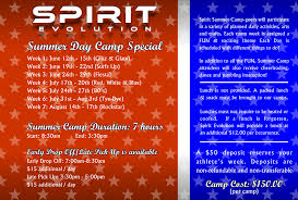 Summer Camp Weekly Schedule Summer Camp Schedule Is Here Spirit Evolution