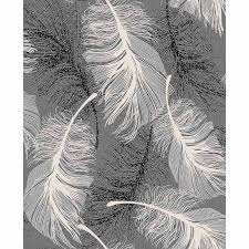 coloroll feather motif wallpaper black decorating diy