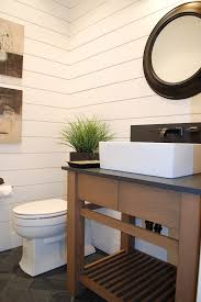 Mor Furniture Boise for a Farmhouse Bathroom with a Wood Walls and